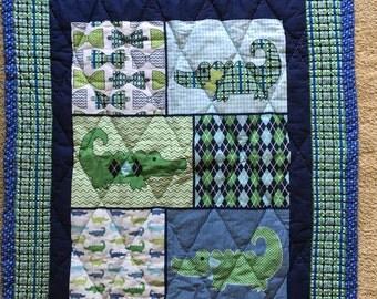 Argyle alligator baby quilt