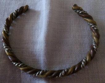 Three Metal Braided Cuff Bracelet