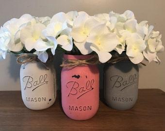 Hand painted Mason Ball Jar Pink
