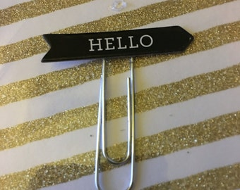 Black and Silver Hello Paperclip, Planner Clip, Office Accesory
