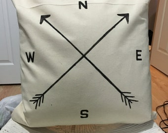 Handmade Pillow, Decorative Pillow, Adventure Pillow - The Compass Pillow