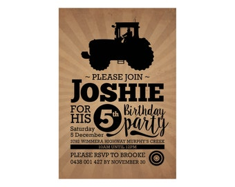 Kids Birthday TRACTOR Invitation PRINTABLE