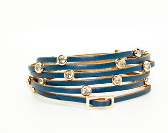 Navy Leather Wrap Cuff with Diamante Gold Studs