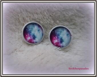 "White cabochon earrings ""Starry sky"""