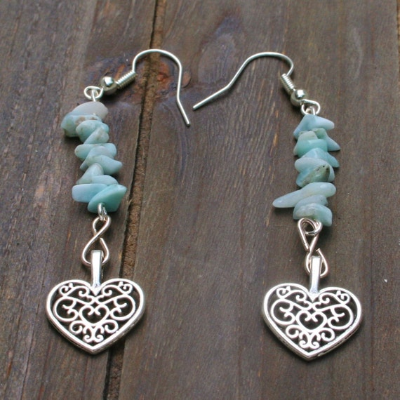 Be The Star That You Are Larimar Twinflame Earrings, Hearts Earrings, Atlantis Earrings, Lemuria, New Age Stone, Light-Blue Stone Earrings