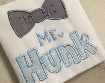 Custom Baby Boy Shirt or Onesie // Toddler Boy Shrit // Outfit for Pictures // Boy Birthday Shirt // Mr. Hunk Shirt for boy