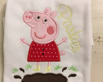 Peppa Pig Shirt with Name // Peppa Pig Shirt // Girl Birthday Shirt // Monogrammed Shirt // Peppa Pig
