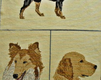 Completed Cross Stitch of Three Adult Dogs