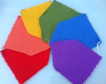 Rainbow colours large knitted bunting
