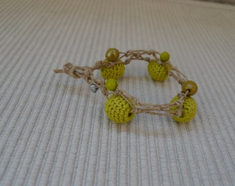 Anklet in macrame and crochet