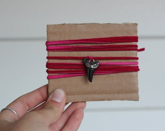 Hot Pink Shark Tooth Leather Wrap