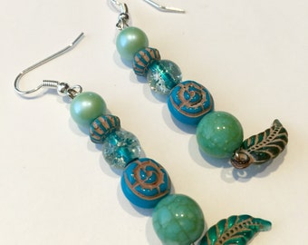 Teal and blue colored dangle earrings