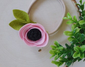 Ballet felt flower headband | with black center
