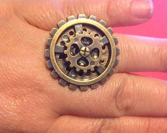 Handmade steampunk gear adjustable ring.