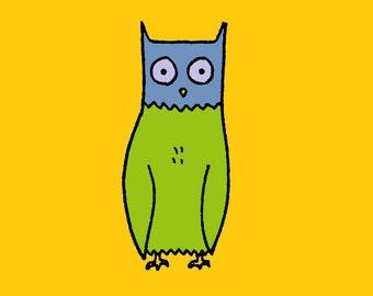 Owl on Yellow Art Print