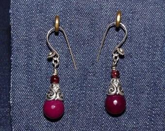 Garnet and Silver earrings
