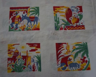 Vintage Southwest Print Cotton Tablecloth Mexico Themed  70''s