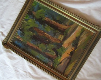 California Impressionism oil PAINTING trees vintage hand painted original c1970s  art home decor beautiful older Frame