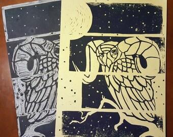 "Great ""Horned"" Owl Block Print"