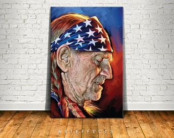Willie Nelson Canvas High Quality Giclee Print Wall Decor Art Poster Artwork