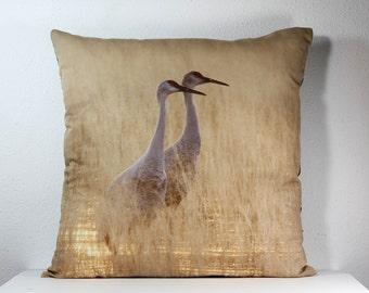 "16""x 16"" Decorative Pillow Cover with Bosque del Apache Sandhill Cranes Pair in Marsh Photo Print"