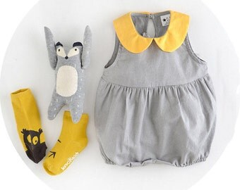 Grey and mustard romper