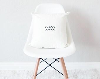 White throw pillow with insert / minimal home decor / wave design cushion /