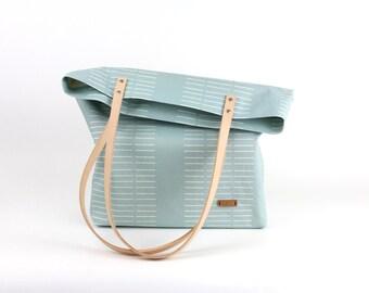 Shoulder bag Mint jade / leather vehicle natural / organic