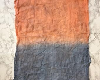 ocean blue and peach hand dyed silk shawl
