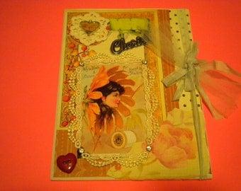 SUNFLOWER GIRL mixed media vintage collage scrapbook original repurposed wood