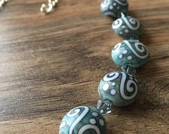 Silver necklace, crystal necklace, blue, glass, Swarovski, Dots and Swirls