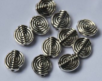 Antique Silver Swirl Spacer Beads.   12mm Silver Plated Beads.  25 beads available.  Destash Beads.  Jewelry Supply.