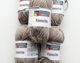 Beige yarn, cotton yarn, knitting yarn, crochet yarn, Schachenmayr SMC Favorito, cheap yarn, yarn lot, medium yarn, worsted yarn, afghan