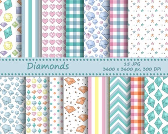 Diamonds digital paper pack - 15 printable jpeg papers, 3600x3600 px, 300 dpi - printable background