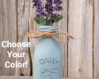 CHOOSE YOUR COLOR** Chalk painted and distressed milk bottle