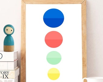 Nursery Illustration, Baby Wall Art, colorful dots prints, Nursery Decor, Baby Gift Kids Decor, nursery POSTER, Nursery print, Kids decor