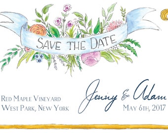 Boho Floral Banner Save the Date