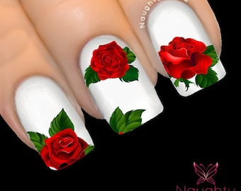 MAJESTIC RED Rose Nail Water Transfer Decal Sticker Art Tattoo NNF-100