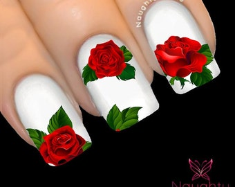 Nail art etsy au majestic red rose nail water transfer decal sticker art tattoo nnf 100 prinsesfo Choice Image