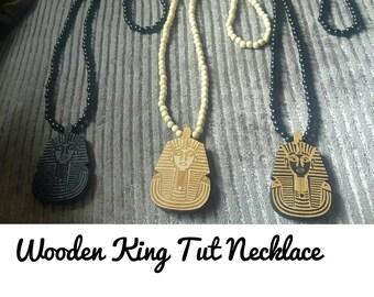Wooden Beaded King Tut Necklace,Ma'at,Pharaoh