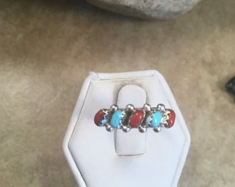 ON SALE Vintage Zuni Turquoise, Coral & Sterling Silver Petit Point Ring Size 6.5