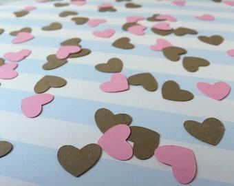 Heart Confetti, Mini heart Confetti, Pink and Brown Confetti, Baby Shower, Bridal Shower, Wedding, Parties