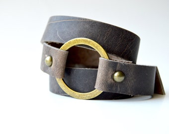 Brown Leather Wrap Bracelet With Ring: Genuine Leather Brown Wrap Bracelet--Joanna Gaines Inspired Cuff