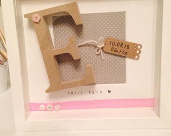 New Baby Box Frame Gift - fully customisable