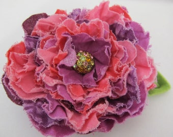 Unique Pink and Purple Fabric Hair Clip/Scarf Brooch/Purse Pin/Hat Pin