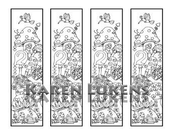 Mushie Houses Bookmarks, 1 Adult Coloring Book Page, Printable Instant Download