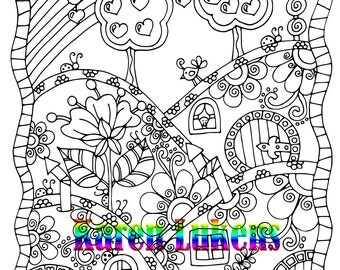 Happyville Hills , 1 Adult Coloring Book Pages, Printable Instant Download