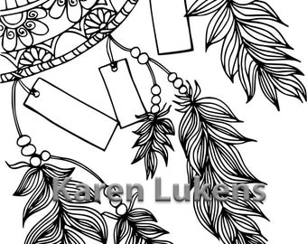 Write Your Dreams Dream Catcher, 1 Adult Coloring Book Page, Printable Instant Download
