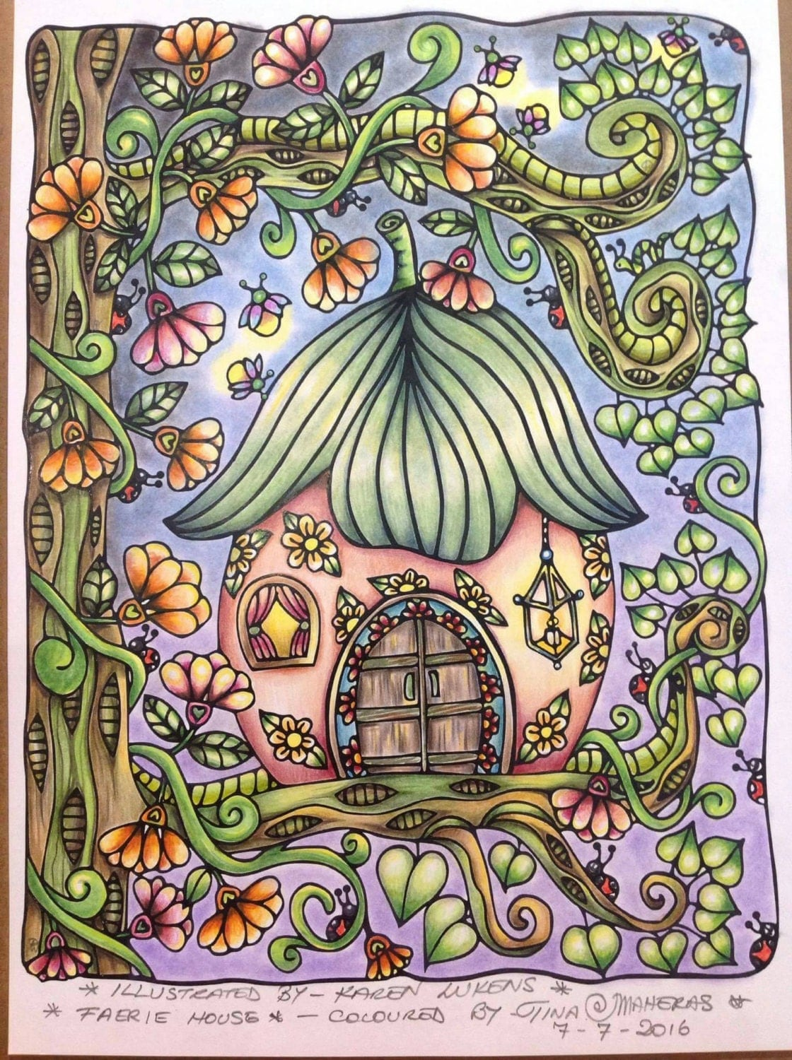 Happyville Fairy House 1 Adult Coloring Book Page Printable Instant Download