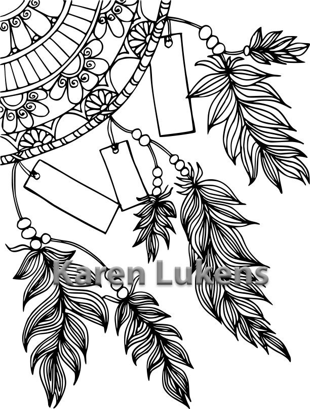 Write Your Dreams Dream Catcher 1 Adult Coloring Book Page Printable Instant Download